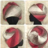 Вязаная шапка трансформер,шапка из мохера,шапка с отворотом