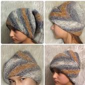 Женская зимняя вязаная шапка с отворотом объемная разноцветная