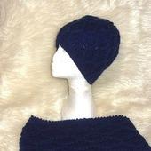 Ромбы вязаный комплект шапка и шарф