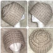 Бежевая шапка из мохера, теплая зимняя вязаная шапка