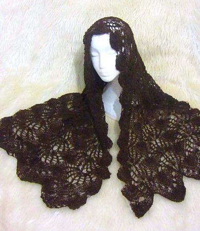 Шоколад ажурная шаль палантин ручной работы на заказ