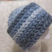 Шапка из мохера, теплая зимняя вязаная шапка