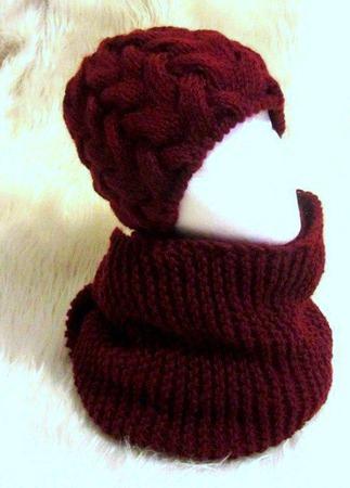 Марсала вязаный снуд в два оборота и шапочка косами ручной работы на заказ