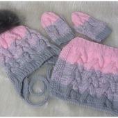 Вязаный комплект для девочки(шапка,снуд,варежки)