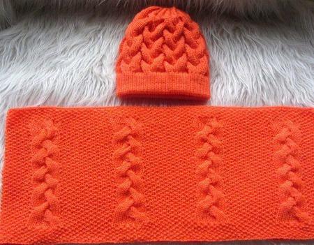 """""""Оранж"""" вязаная шапка и снуд в два оборота ручной работы на заказ"""