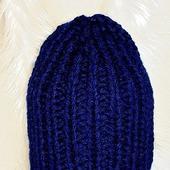 Зимняя вязаная теплая мужская шапка бини