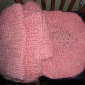 """Комплект """"Розовый берет и шарф для дамы"""""""
