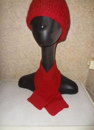"""Комплект """"Красный берет и шарф для леди"""" ручной работы на заказ"""