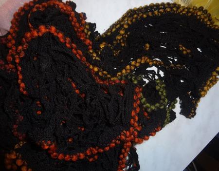 Щарфик Дантелла черный с окантовкой ручной работы на заказ