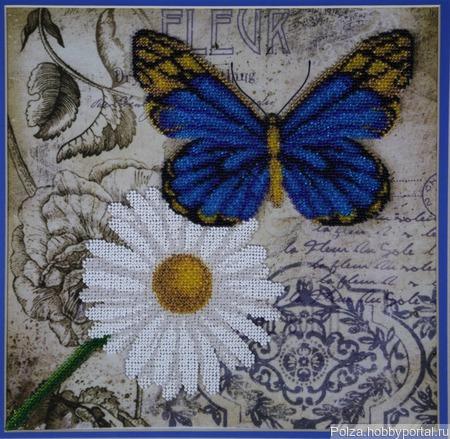 """Вышивка бисером """"Бабочка счастья"""" ручной работы на заказ"""