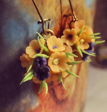 Цветочные серьги-шары ручной работы на заказ