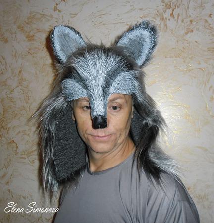 """Маска """"Волк"""" (оформление головы для мюзикла Красная шапочка) ручной работы на заказ"""