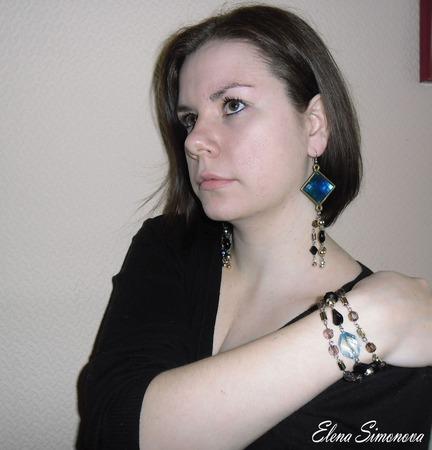 """Комплект  украшений """"Чёрное Море"""" (серьги длинные, браслет) ручной работы на заказ"""