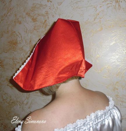 Капор красной шапочки взрослый для карнавального костюма ручной работы на заказ