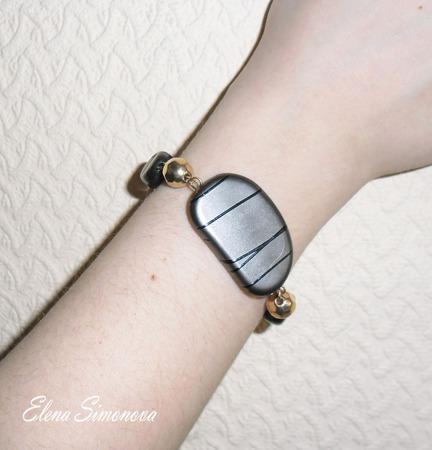 """Комплект украшений """"Серый  декор"""" (серьги длинные, браслет) ручной работы на заказ"""