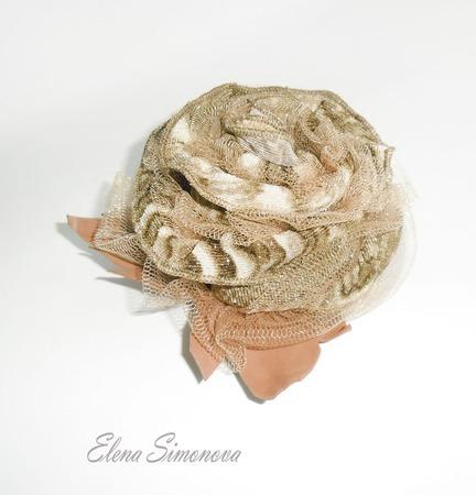 Брошь-заколка текстиль Ламинария ручной работы на заказ