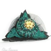 Брошь-заколка текстиль Золотой малахит