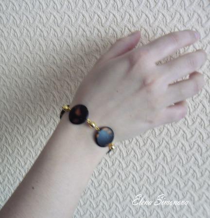 """Комплект украшений """"Бурая ночь"""" (серьги длинные, браслет) ручной работы на заказ"""