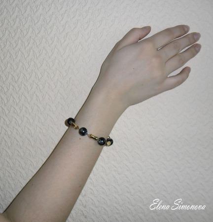 """Комплект украшений """"Серая ночь""""  (серьги длинные, браслет) ручной работы на заказ"""