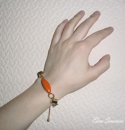 """Комплект украшений """"Золотой  Оранж""""  (серьги длинные, браслет) ручной работы на заказ"""
