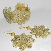 Комплект украшений (серьги, браслет) золотые кружева