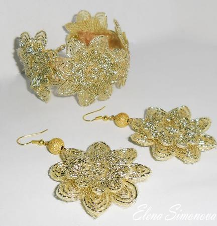 Комплект украшений (серьги, браслет) золотые кружева ручной работы на заказ