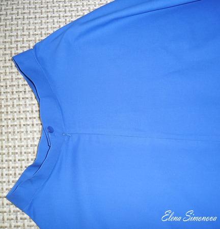 Юбка полусолнце без карманов синяя ручной работы на заказ