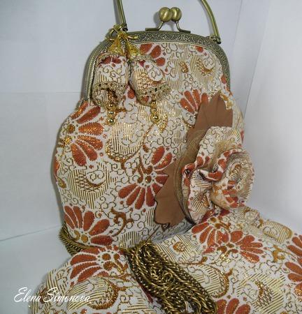 Серьги Золотая парча  текстильные ручной работы на заказ