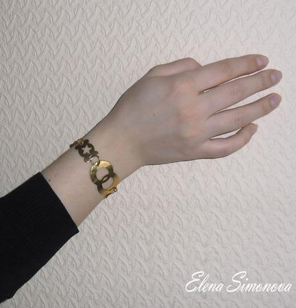 """Комплект украшений """"Золотой"""" (серьги длинные, браслет) ручной работы на заказ"""