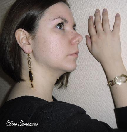 """Комплект украшений """"Золотая дорожка"""" (серьги длинные, браслет) ручной работы на заказ"""