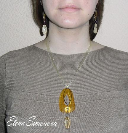 """Комплект украшений """"Лимонная свежесть"""" (серьги, кулон) ручной работы на заказ"""