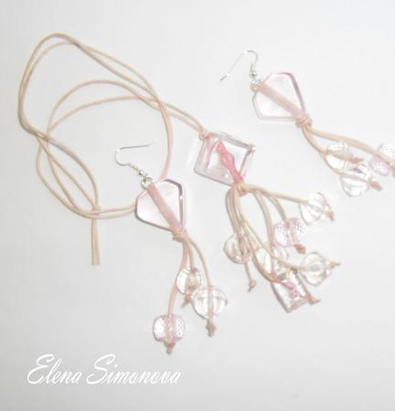 """Комплект украшений """"Розовые сердечки"""" (серьги длинные, кулон) ручной работы на заказ"""