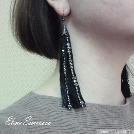 Серьги длинные кисти с бусинами ручной работы на заказ