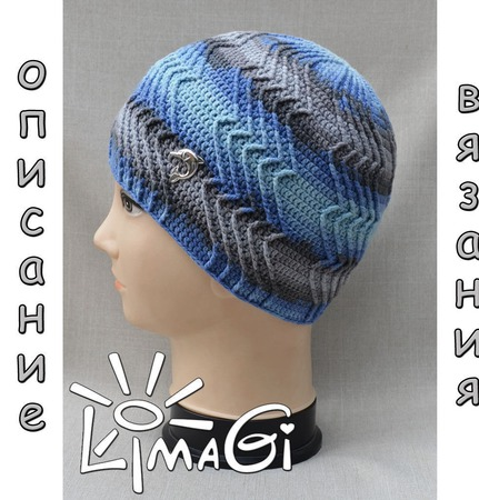 """Шапочка """"Штормовое море"""" - описание вязания ручной работы на заказ"""