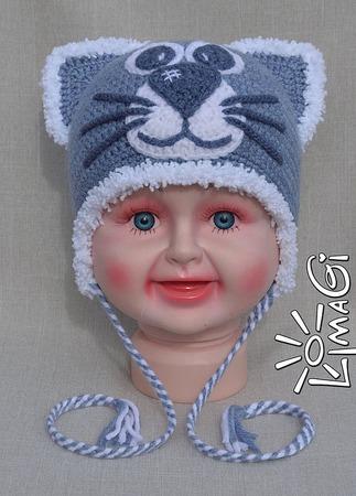 """Шапочка """"Джинсокотик"""" - описание вязания ручной работы на заказ"""