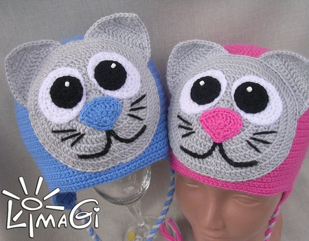 "Шапочки ""Мои котята"" - описание вязания ручной работы на заказ"