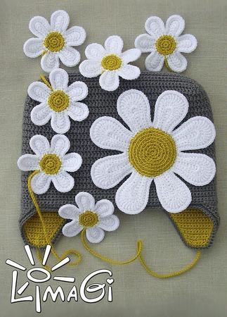 """Шапочка """"Королева ромашек"""" - описание вязания ручной работы на заказ"""