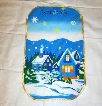 Полотенце салфетки  для кухни Новый год Домики ручной работы на заказ
