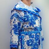 Халат с капюшоном вафельный женский