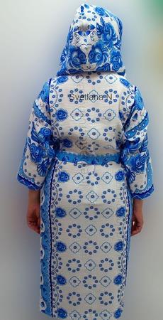 Халат с капюшоном вафельный женский ручной работы на заказ