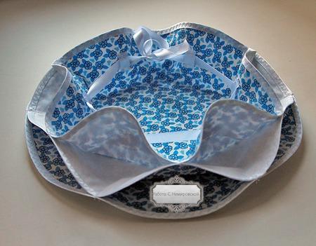 Пасхальница конфетница текстильная Голубые цветы ручной работы на заказ