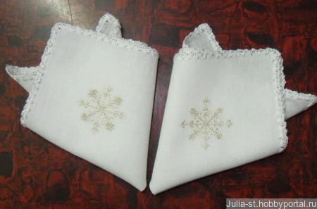"""Носовые платочки """"Снежинка"""" (комплект) ручной работы на заказ"""
