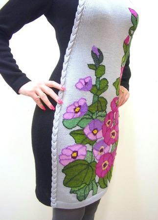 """Вязаное платье """"Мальвы детства моего"""" ручной работы на заказ"""