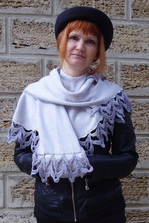 """Вязаный шарф """"Серебряный дымок"""" ручной работы на заказ"""