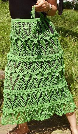 """Вязаная юбка """"Водопад травы"""" ручной работы на заказ"""