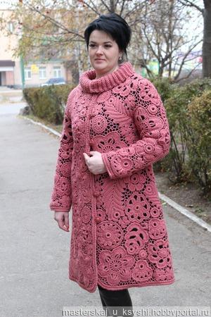 Пальто Сухая роза ручной работы на заказ