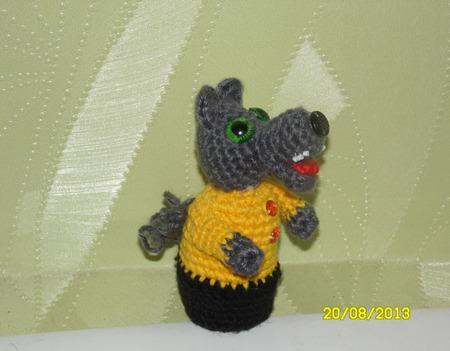 Волк пальчиковая игрушка ручной работы на заказ
