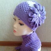 Комплект (шапка + шарф) Клематис