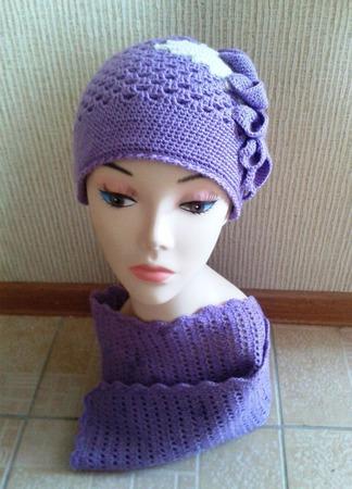 Комплект (шапка + шарф) Клематис ручной работы на заказ