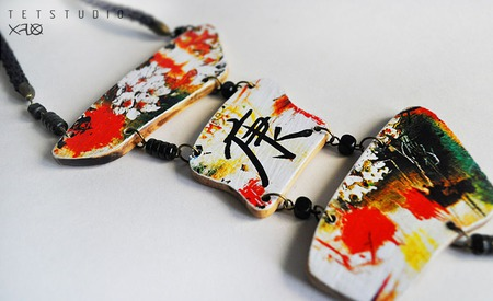 Колье Сакура в японском стиле ручной работы на заказ